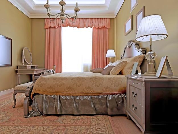 차분한 색상 조합으로 만든 화장대와 밝은 목재 바닥이있는 고전적인 침실 디자인.