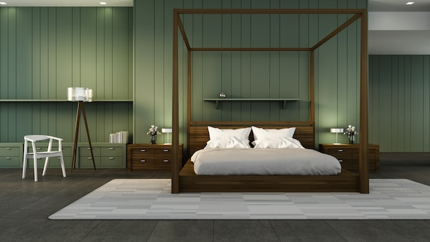 Classic bedroom interior & green wall / 3d rendering interior
