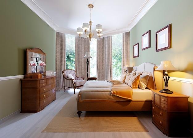 テーブルサイドに枕とランプのセット、インテリアデザインのコンセプトを持つクラシックなベッドルームスタイル。 3dレンダリング