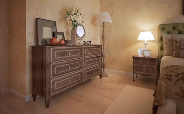 オーク材の家具を備えたクラシックなベッドルーム
