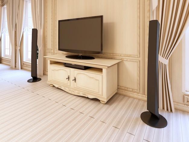 고급스러운 신고전주의 침실에 있는 tv 장치용 클래식 침대 옆 탁자. 3d 렌더링.