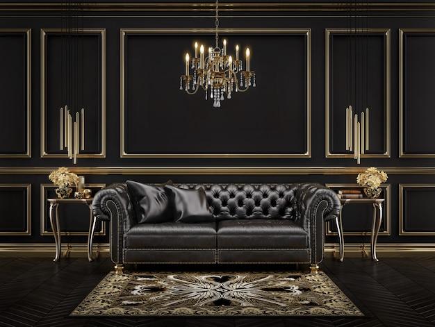 Классический черно-золотой интерьер