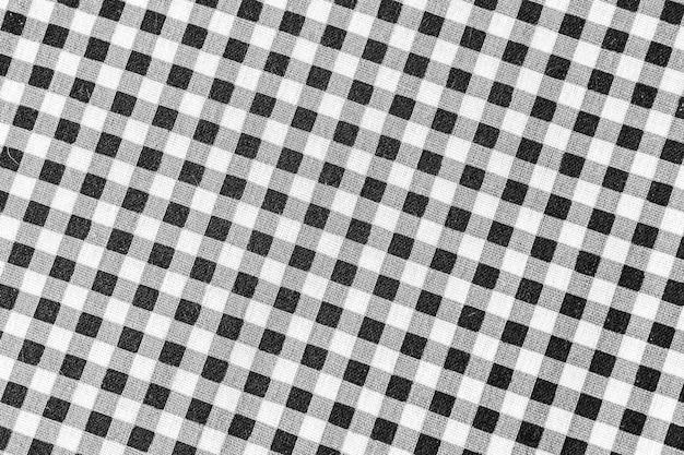 クラシックな黒と白のチェック柄の生地またはテーブルクロス