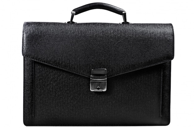 Classic black business leather briefcase for office work