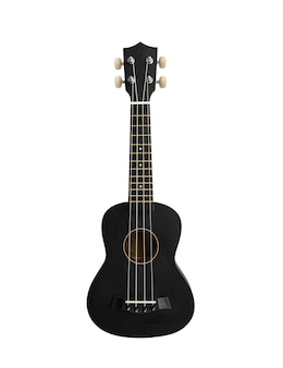 A classic black concert ukulele is isolated on a white background. hawaiian guitar