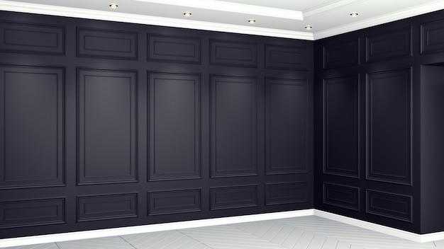 Classic black interior living studio 3d rendering. empty room for your montage.