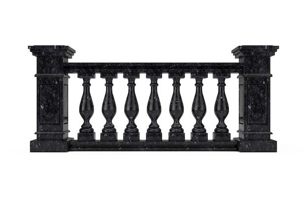 白い背景の上の列と古典的な黒大理石の柱手すり子。 3dレンダリング