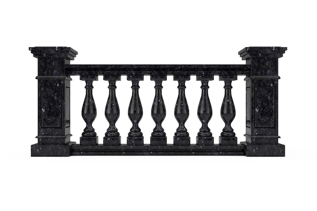 Classic black marble pillars balustrade with columns on a white background. 3d rendering