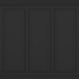 Classic black wall 3d render