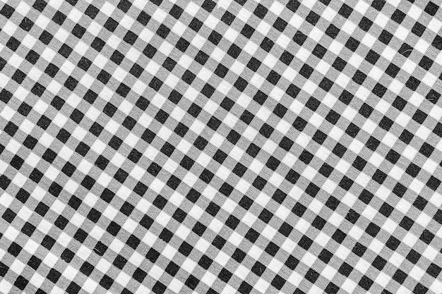 Classic black and white plaid fabric background