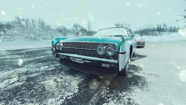 고전적인 파란색 자동차와 눈 덮인 계절. 3d 렌더링 및 그림입니다.