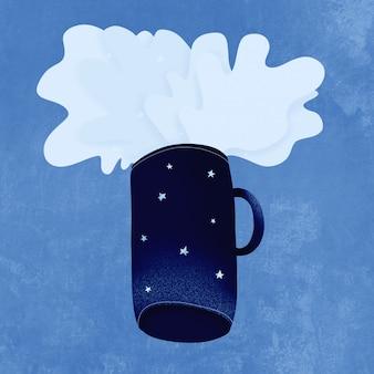 Классический синий. цвет года 2020. из космоса голубая кружка летит, брызги космоса со звездами