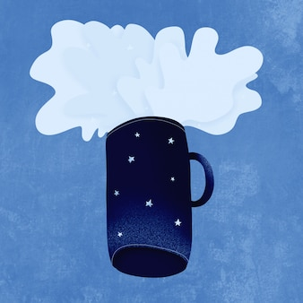Classic blue. color of the year 2020. from the space blue mug flying splashes of space with stars