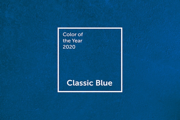 Classic blue concrete wall. color of the year 2020. color trend palette.