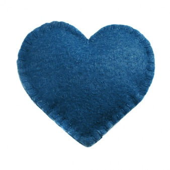 Classic blue felt heart on white. top view. isolated. concept trendy color of the 2020 year.