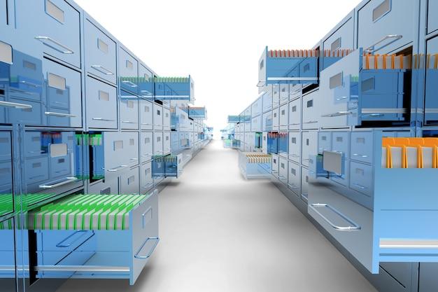 고립 된 클래식 블루 파일 캐비닛