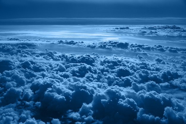 Classic blue sky with fluffy clouds background color of the year 2020