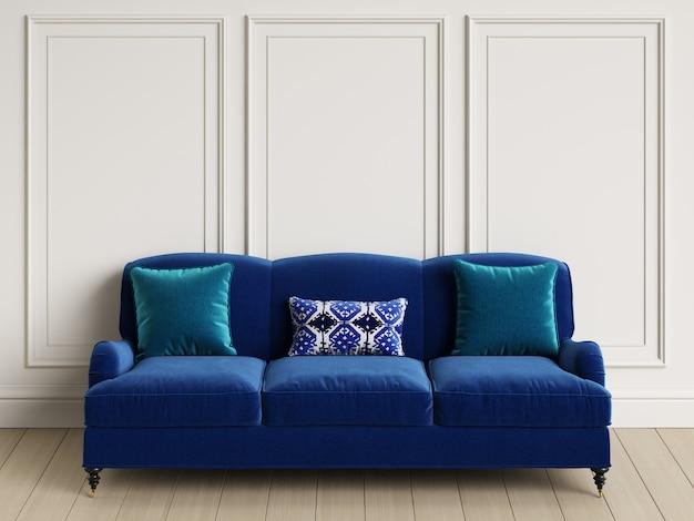 Classic blue sofa in classic interior