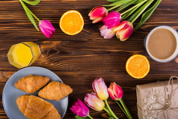 Classic breakfast with tulips