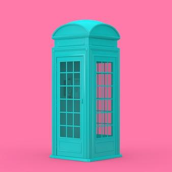 ピンクの背景にデュオトーンスタイルのクラシックなブリティッシュブルーの電話ブース。 3dレンダリング