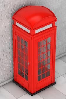 벽돌 벽 앞의 고전적인 영국식 빨간 전화 부스. 3d 렌더링