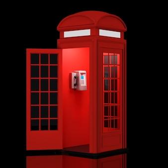검정색 배경에 고전적인 영국 빨간 전화 부스. 3d 렌더링