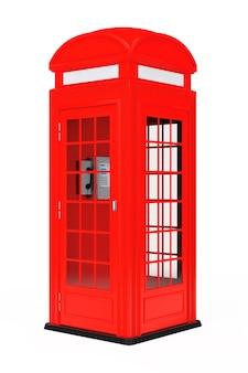 Классическая британская красная телефонная будка на белом фоне. 3d рендеринг