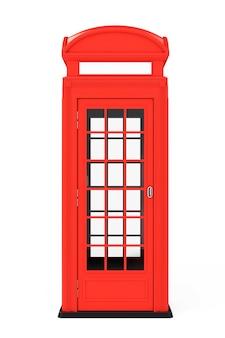 흰색 바탕에 고전적인 영국 빨간 전화 부스. 3d 렌더링