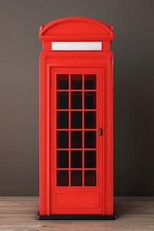 Классическая британская красная телефонная будка на деревянном полу. 3d рендеринг