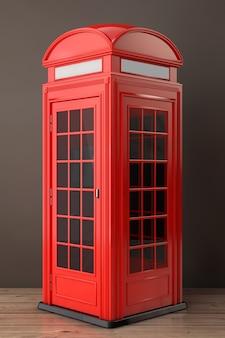 나무 바닥에 고전적인 영국 빨간 전화 부스. 3d 렌더링