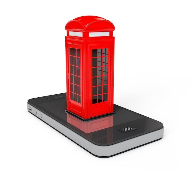 흰색 배경에 휴대 전화를 통해 클래식 영국 빨간 전화 부스. 3d 렌더링