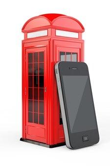흰색 바탕에 휴대 전화와 함께 고전적인 영국 빨간 전화 부스. 3d 렌더링