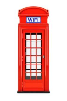 흰색 바탕에 wifi 기호가 있는 클래식 영국 빨간 전화 부스. 3d 렌더링