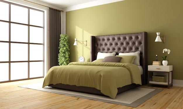 クラシックなブラウンとグリーンのベッドルーム