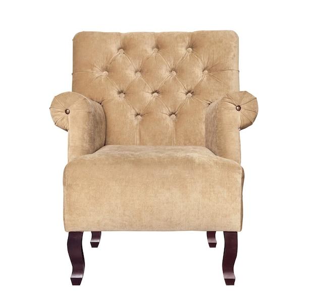 白で隔離の古典的な茶色の椅子