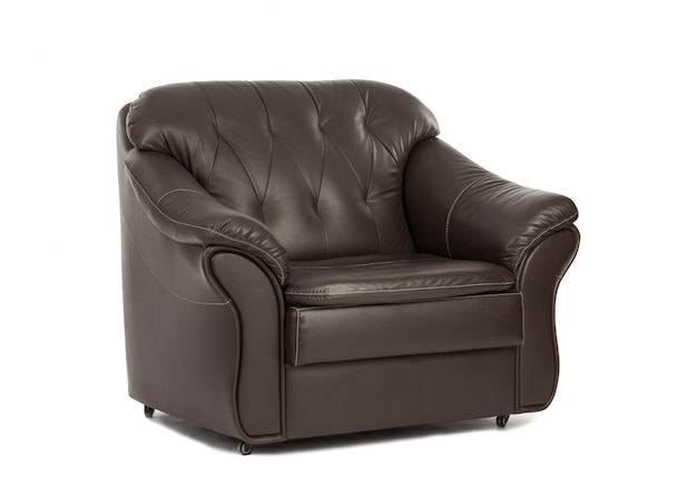 Classic brown leather armchair isolated