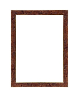 Классическая коричневая рамка холста картины изолирована на белом фоне