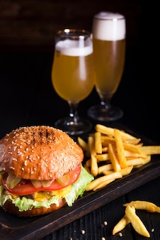 Classic burger with french fries and beer