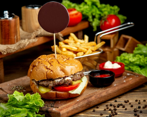Classic burger with french fries