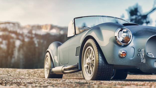 아침에 산에 주차된 클래식 자동차. 3d 렌더링 및 그림입니다.