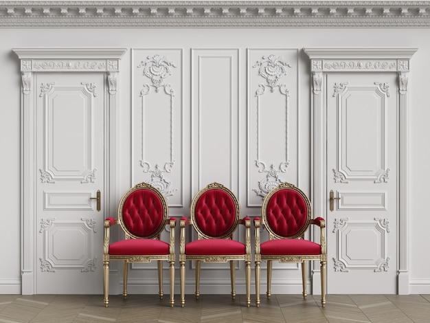 Classic carver chairs in interior with copy space