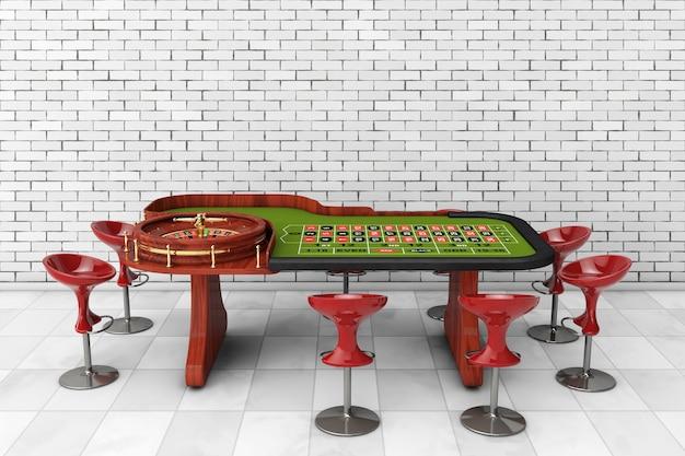レンガの壁の前に椅子が付いている古典的なカジノのルーレットのテーブル。 3dレンダリング。