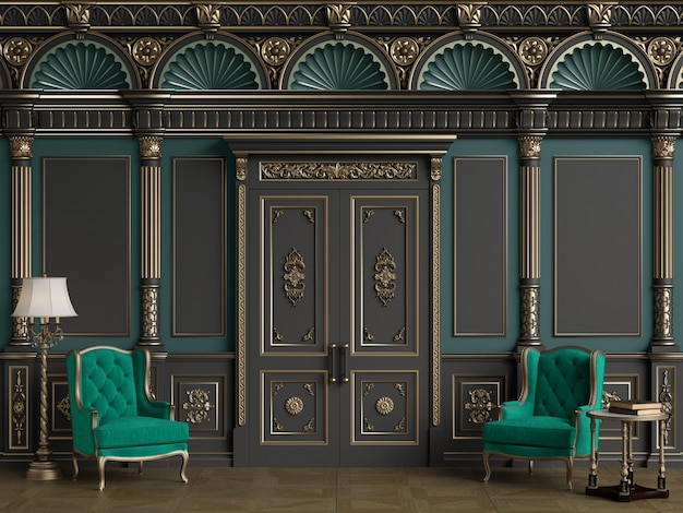 Classic chairs in luxury interior