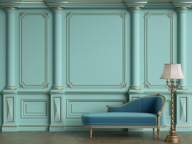 Classic chaise longue in classic interior with copy space