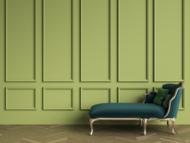 Classic chaise longue in emerald green and gold color in classic interior with copy space