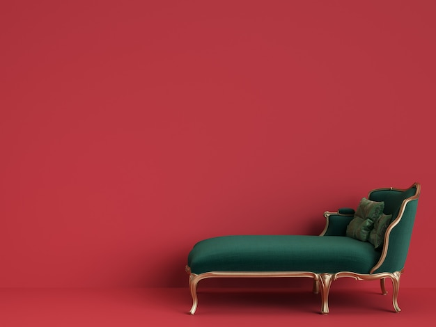 Classic chaise longue in emerald green and gold with copy space