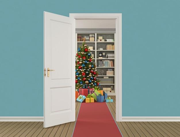 Классический новогодний интерьер с открытой дверью и елкой