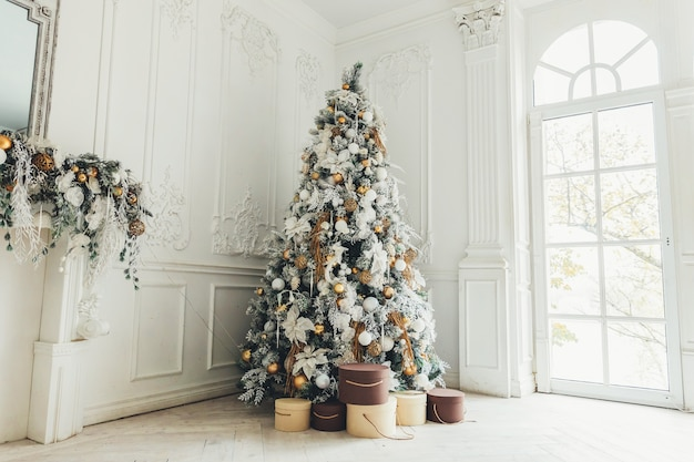 Classic christmas new year decorated interior room with new year tree