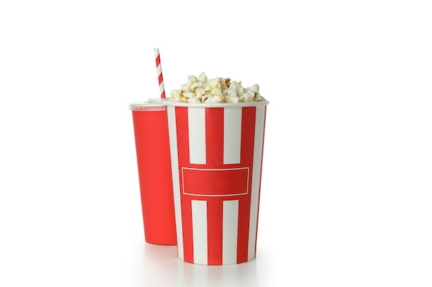 Classic cinema food isolated on white background.