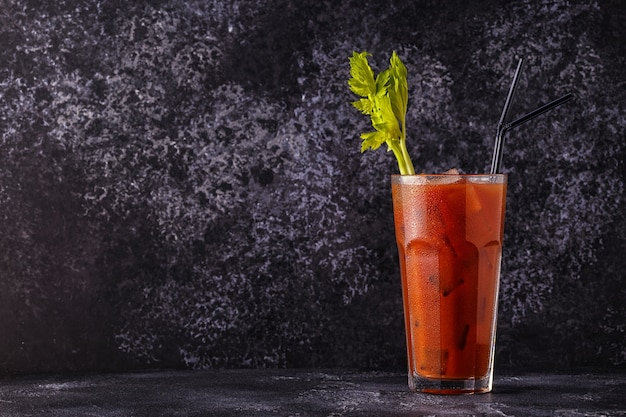 Classic cocktail called bloody mary